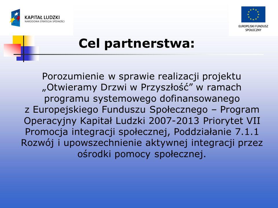Cel partnerstwa: Porozumienie w sprawie realizacji projektu Otwieramy Drzwi w Przyszłość w ramach programu systemowego dofinansowanego z Europejskiego