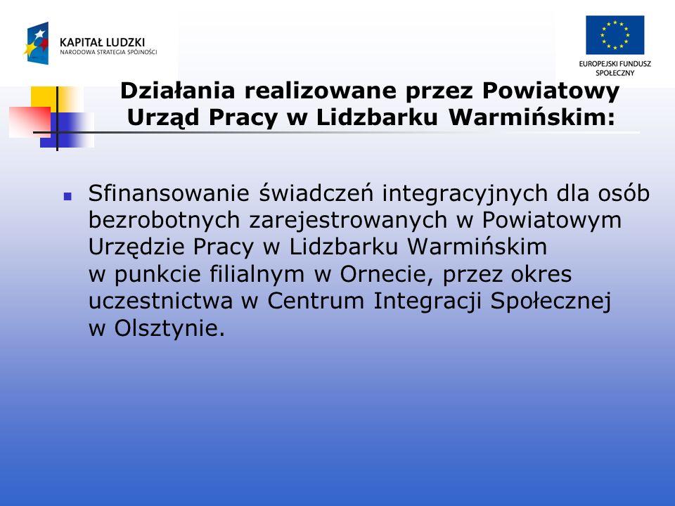 Działania realizowane przez Powiatowy Urząd Pracy w Lidzbarku Warmińskim: Sfinansowanie świadczeń integracyjnych dla osób bezrobotnych zarejestrowanyc