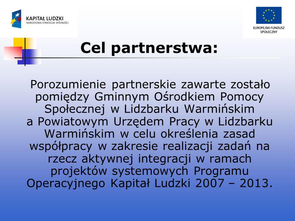 Cel partnerstwa: Porozumienie partnerskie zawarte zostało pomiędzy Gminnym Ośrodkiem Pomocy Społecznej w Lidzbarku Warmińskim a Powiatowym Urzędem Pra