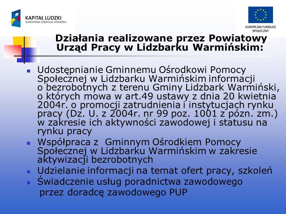 Działania realizowane przez Powiatowy Urząd Pracy w Lidzbarku Warmińskim: Udostępnianie Gminnemu Ośrodkowi Pomocy Społecznej w Lidzbarku Warmińskim in