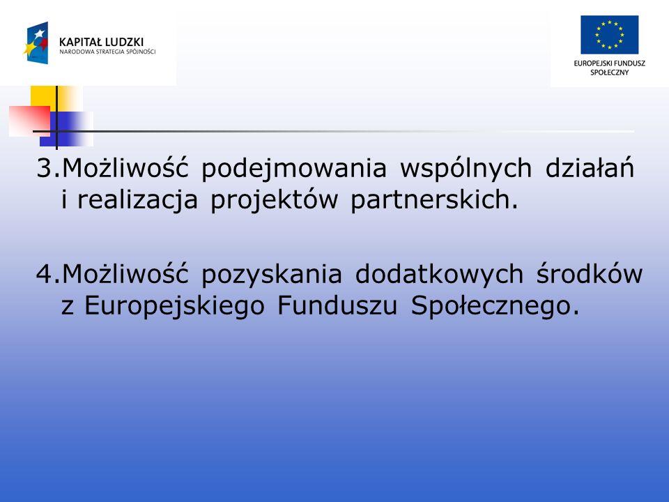 3.Możliwość podejmowania wspólnych działań i realizacja projektów partnerskich. 4.Możliwość pozyskania dodatkowych środków z Europejskiego Funduszu Sp