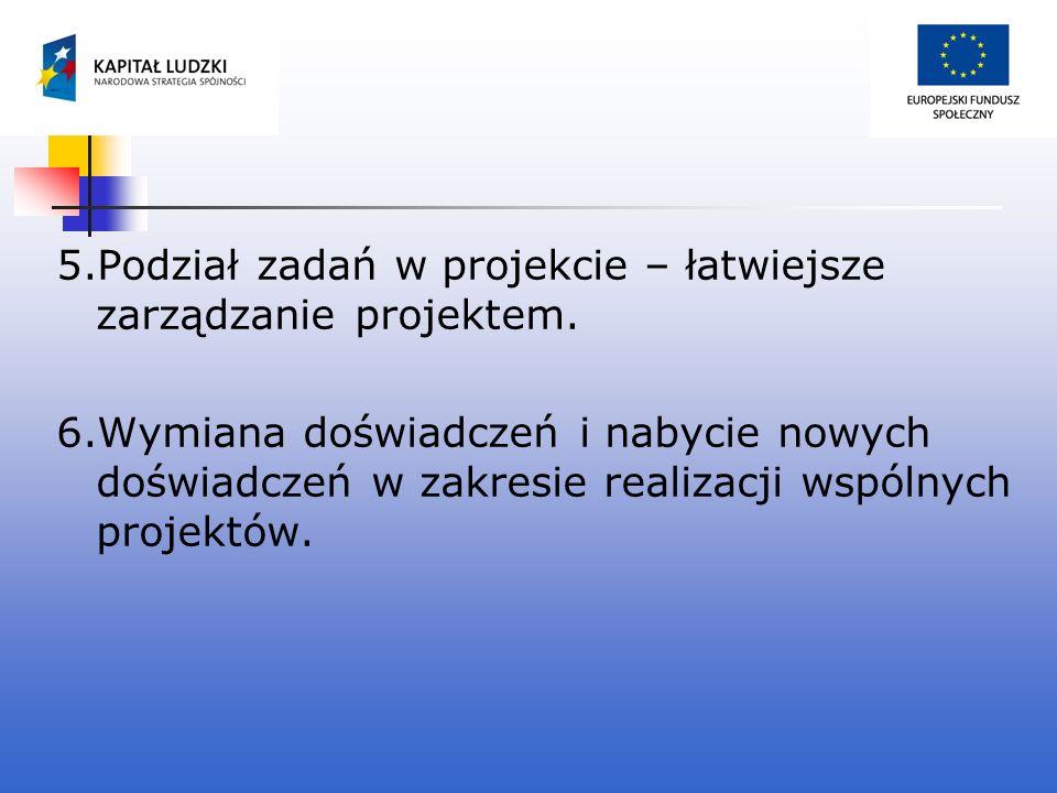 5.Podział zadań w projekcie – łatwiejsze zarządzanie projektem. 6.Wymiana doświadczeń i nabycie nowych doświadczeń w zakresie realizacji wspólnych pro