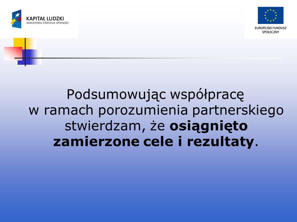 Podsumowując współpracę w ramach porozumienia partnerskiego stwierdzam, że osiągnięto zamierzone cele i rezultaty.