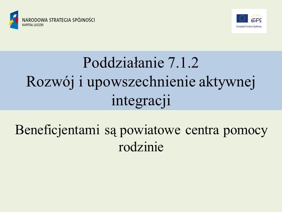 Poddziałanie 7.1.2 Rozwój i upowszechnienie aktywnej integracji Beneficjentami są powiatowe centra pomocy rodzinie
