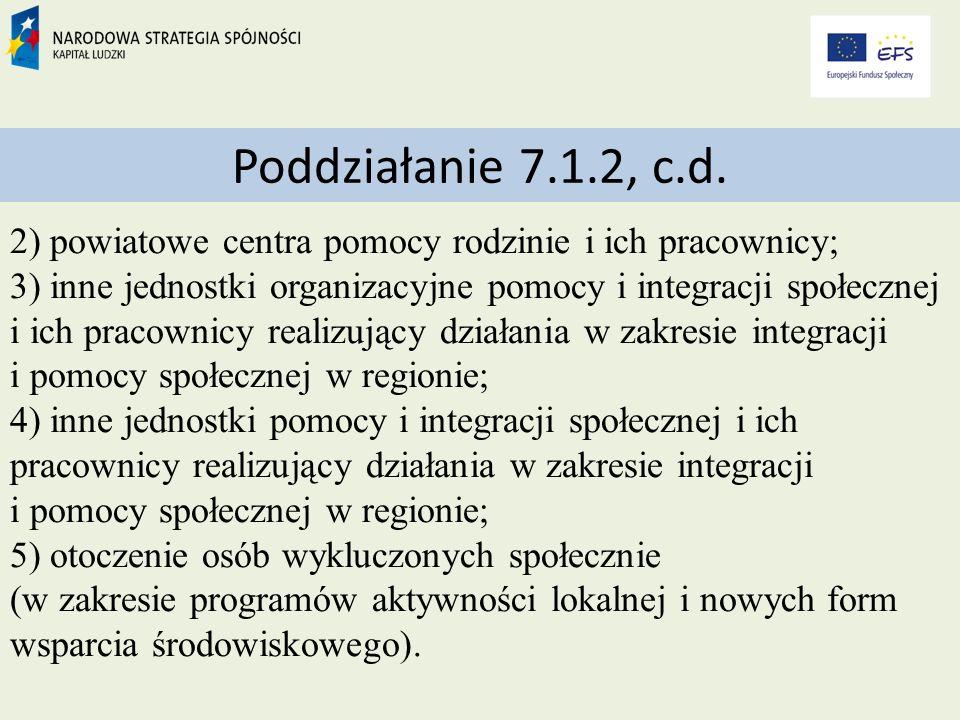 Poddziałanie 7.1.2, c.d.