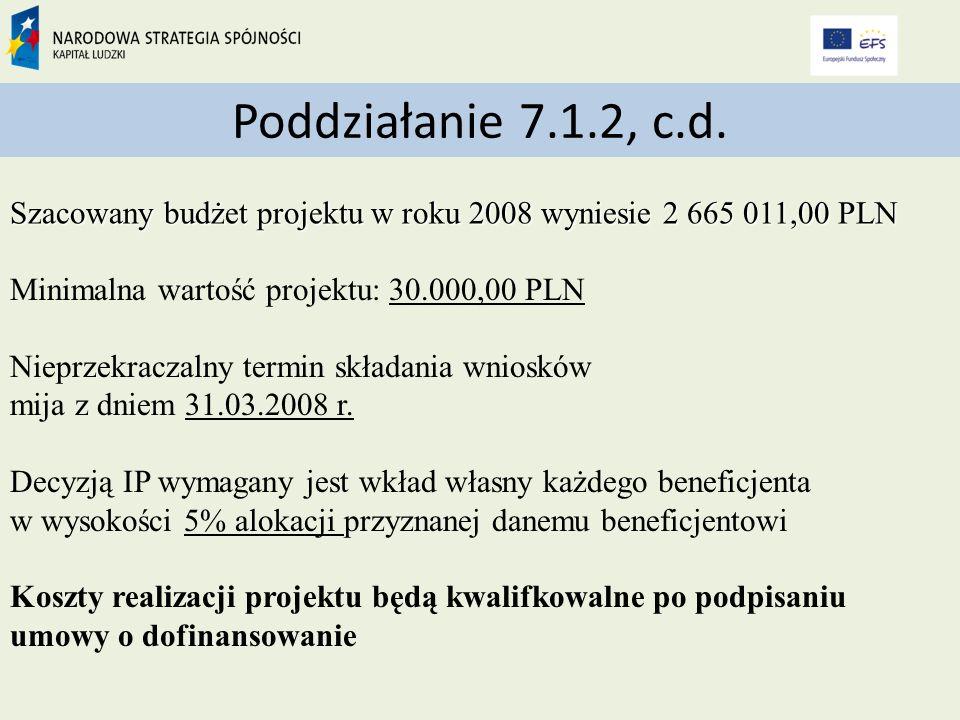Minimalna wartość projektu: 30.000,00 PLN Nieprzekraczalny termin składania wniosków mija z dniem 31.03.2008 r.