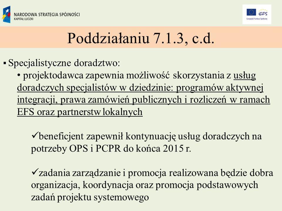 Poddziałaniu 7.1.3, c.d.
