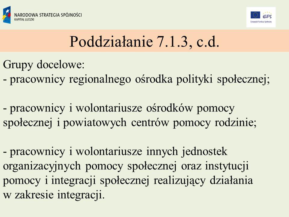 Poddziałanie 7.1.3, c.d.