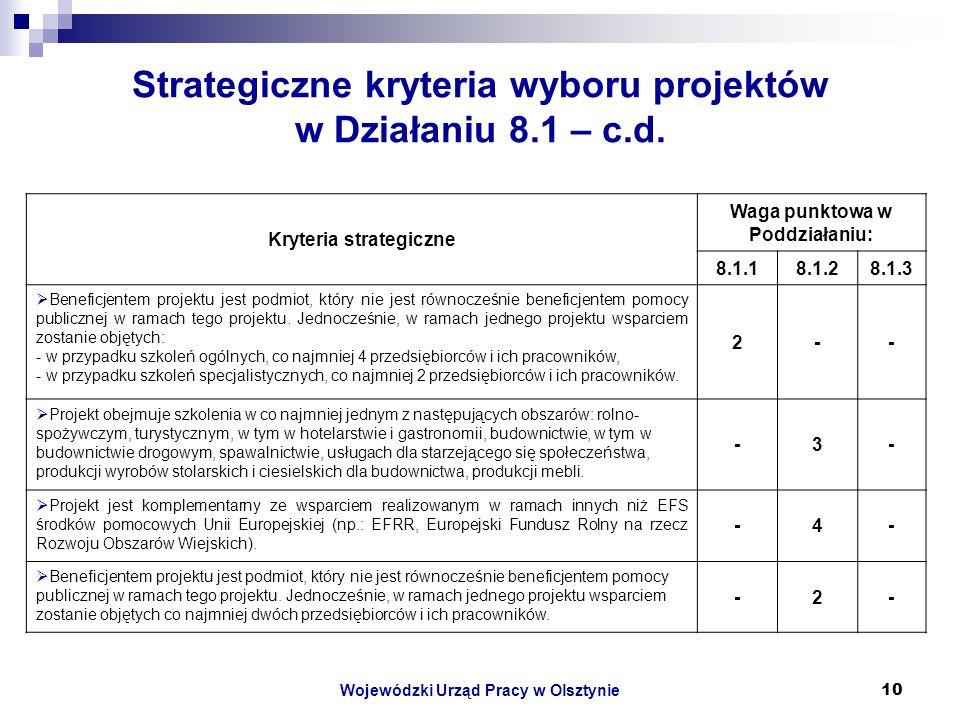 Wojewódzki Urząd Pracy w Olsztynie10 Strategiczne kryteria wyboru projektów w Działaniu 8.1 – c.d.