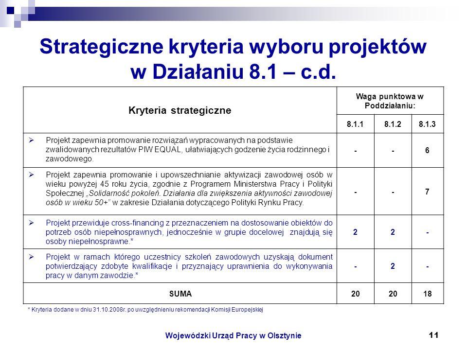 Wojewódzki Urząd Pracy w Olsztynie11 Strategiczne kryteria wyboru projektów w Działaniu 8.1 – c.d.