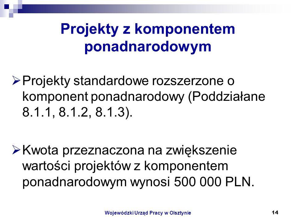 Wojewódzki Urząd Pracy w Olsztynie14 Projekty z komponentem ponadnarodowym Projekty standardowe rozszerzone o komponent ponadnarodowy (Poddziałane 8.1.1, 8.1.2, 8.1.3).
