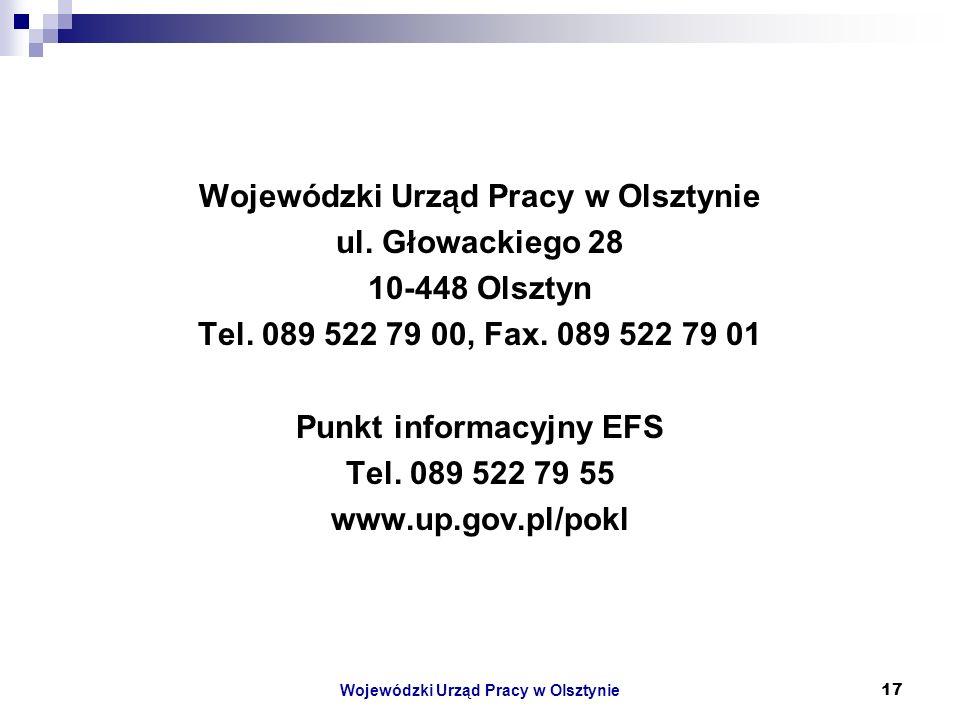 Wojewódzki Urząd Pracy w Olsztynie17 Wojewódzki Urząd Pracy w Olsztynie ul.