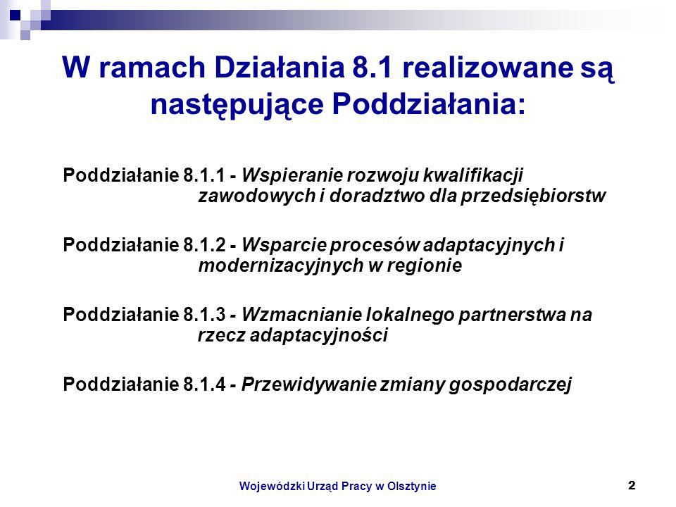 Wojewódzki Urząd Pracy w Olsztynie2 W ramach Działania 8.1 realizowane są następujące Poddziałania: Poddziałanie 8.1.1 - Wspieranie rozwoju kwalifikacji zawodowych i doradztwo dla przedsiębiorstw Poddziałanie 8.1.2 - Wsparcie procesów adaptacyjnych i modernizacyjnych w regionie Poddziałanie 8.1.3 - Wzmacnianie lokalnego partnerstwa na rzecz adaptacyjności Poddziałanie 8.1.4 - Przewidywanie zmiany gospodarczej