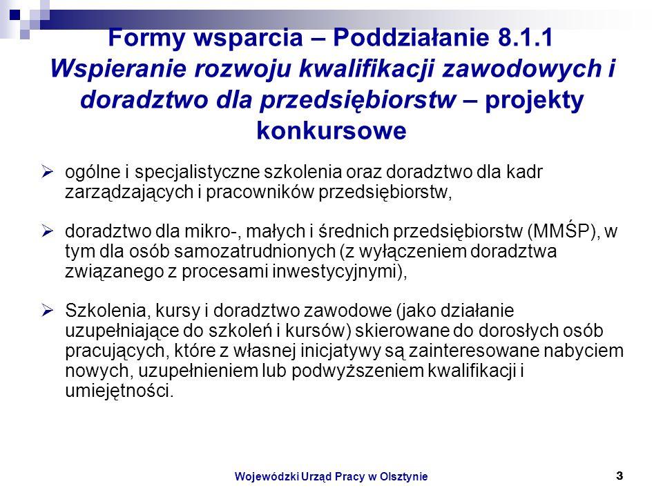 Wojewódzki Urząd Pracy w Olsztynie3 Formy wsparcia – Poddziałanie 8.1.1 Wspieranie rozwoju kwalifikacji zawodowych i doradztwo dla przedsiębiorstw – projekty konkursowe ogólne i specjalistyczne szkolenia oraz doradztwo dla kadr zarządzających i pracowników przedsiębiorstw, doradztwo dla mikro-, małych i średnich przedsiębiorstw (MMŚP), w tym dla osób samozatrudnionych (z wyłączeniem doradztwa związanego z procesami inwestycyjnymi), Szkolenia, kursy i doradztwo zawodowe (jako działanie uzupełniające do szkoleń i kursów) skierowane do dorosłych osób pracujących, które z własnej inicjatywy są zainteresowane nabyciem nowych, uzupełnieniem lub podwyższeniem kwalifikacji i umiejętności.