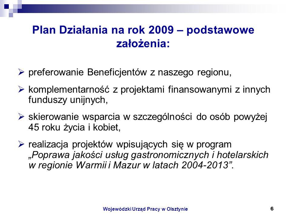 Wojewódzki Urząd Pracy w Olsztynie6 Plan Działania na rok 2009 – podstawowe założenia: preferowanie Beneficjentów z naszego regionu, komplementarność z projektami finansowanymi z innych funduszy unijnych, skierowanie wsparcia w szczególności do osób powyżej 45 roku życia i kobiet, realizacja projektów wpisujących się w program Poprawa jakości usług gastronomicznych i hotelarskich w regionie Warmii i Mazur w latach 2004-2013.