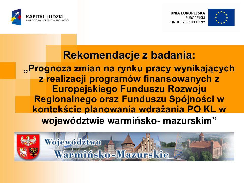 Rekomendacje z badania: Prognoza zmian na rynku pracy wynikających z realizacji programów finansowanych z Europejskiego Funduszu Rozwoju Regionalnego