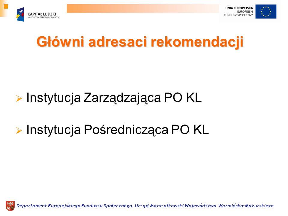 Główni adresaci rekomendacji Instytucja Zarządzająca PO KL Instytucja Pośrednicząca PO KL Departament Europejskiego Funduszu Społecznego, Urząd Marsza