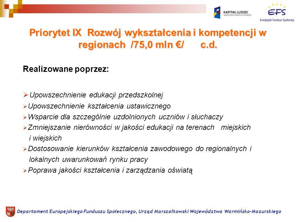 Priorytet IX Rozwój wykształcenia i kompetencji w regionach /75,0 mln / c.d.