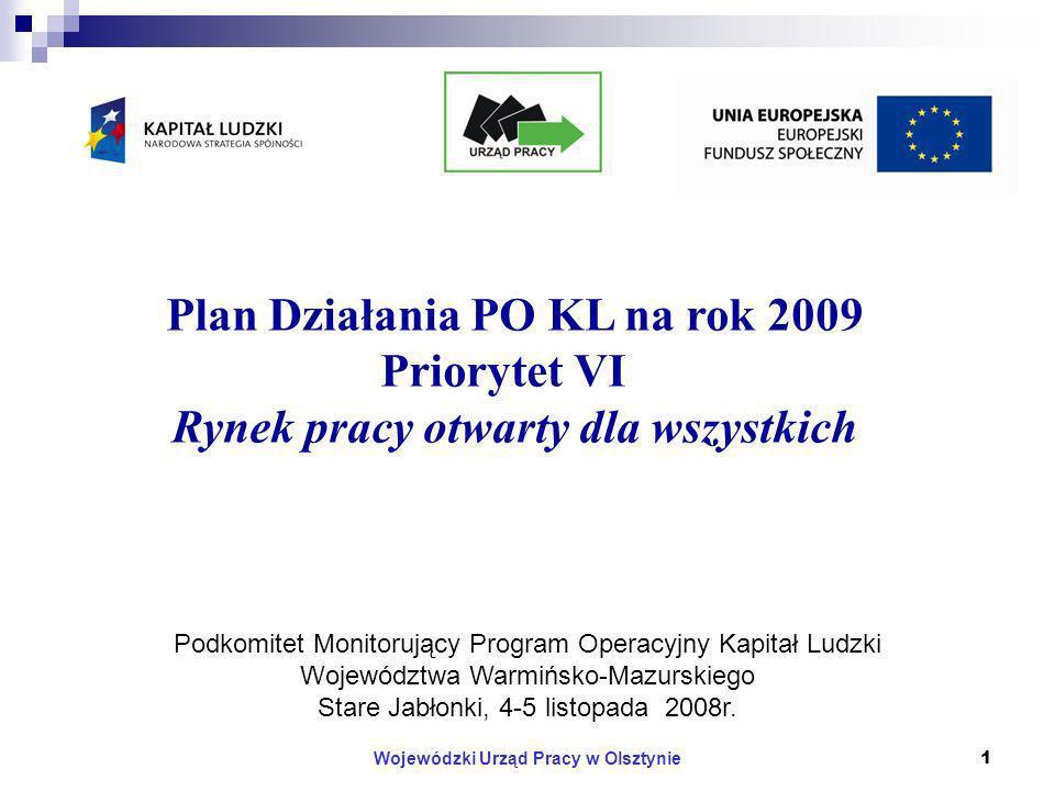 Wojewódzki Urząd Pracy w Olsztynie12 Kryteria wyboru projektów w Priorytecie VI PO KL Kryteria dostępu c.d.: Beneficjent składa maksymalnie jeden wniosek w ramach danego konkursu dla Działania 6.2 a dla Działania 6.3 – trzy wnioski (kryterium to dotyczy również występowania w partnerstwie).
