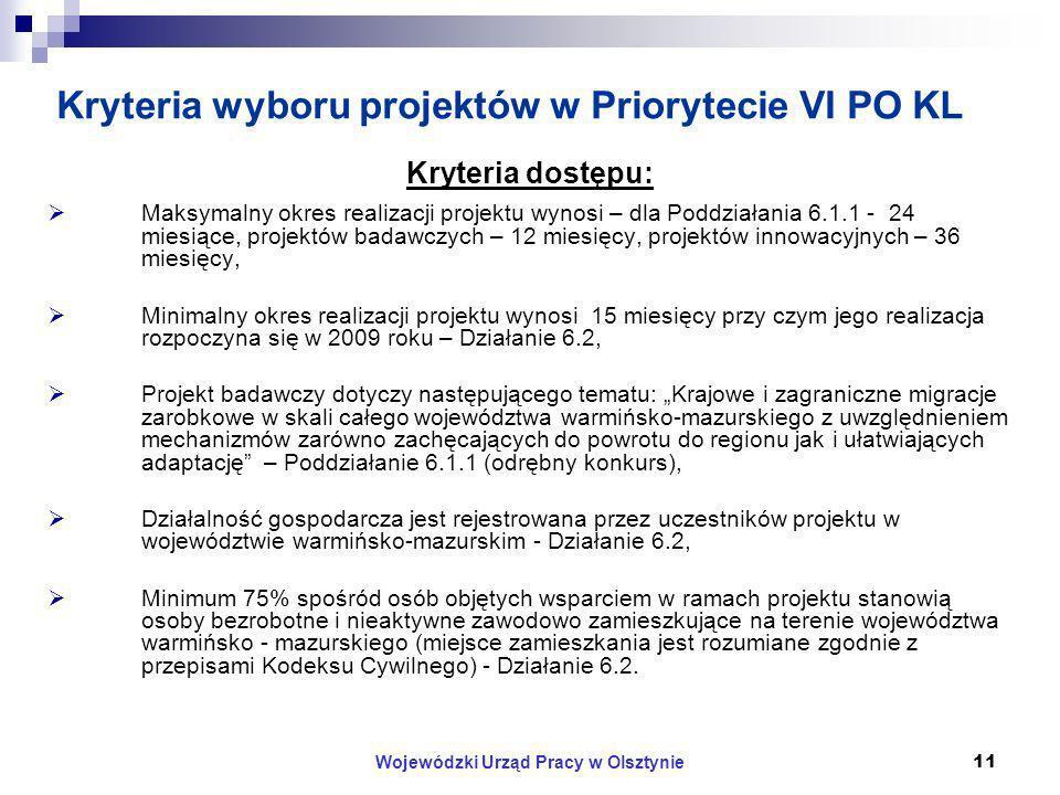 Wojewódzki Urząd Pracy w Olsztynie11 Kryteria wyboru projektów w Priorytecie VI PO KL Kryteria dostępu: Maksymalny okres realizacji projektu wynosi – dla Poddziałania 6.1.1 - 24 miesiące, projektów badawczych – 12 miesięcy, projektów innowacyjnych – 36 miesięcy, Minimalny okres realizacji projektu wynosi 15 miesięcy przy czym jego realizacja rozpoczyna się w 2009 roku – Działanie 6.2, Projekt badawczy dotyczy następującego tematu: Krajowe i zagraniczne migracje zarobkowe w skali całego województwa warmińsko-mazurskiego z uwzględnieniem mechanizmów zarówno zachęcających do powrotu do regionu jak i ułatwiających adaptację – Poddziałanie 6.1.1 (odrębny konkurs), Działalność gospodarcza jest rejestrowana przez uczestników projektu w województwie warmińsko-mazurskim - Działanie 6.2, Minimum 75% spośród osób objętych wsparciem w ramach projektu stanowią osoby bezrobotne i nieaktywne zawodowo zamieszkujące na terenie województwa warmińsko - mazurskiego (miejsce zamieszkania jest rozumiane zgodnie z przepisami Kodeksu Cywilnego) - Działanie 6.2.