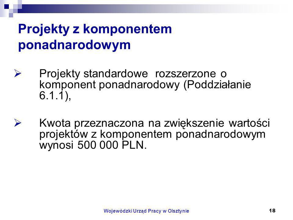 Wojewódzki Urząd Pracy w Olsztynie18 Projekty z komponentem ponadnarodowym Projekty standardowe rozszerzone o komponent ponadnarodowy (Poddziałanie 6.1.1), Kwota przeznaczona na zwiększenie wartości projektów z komponentem ponadnarodowym wynosi 500 000 PLN.