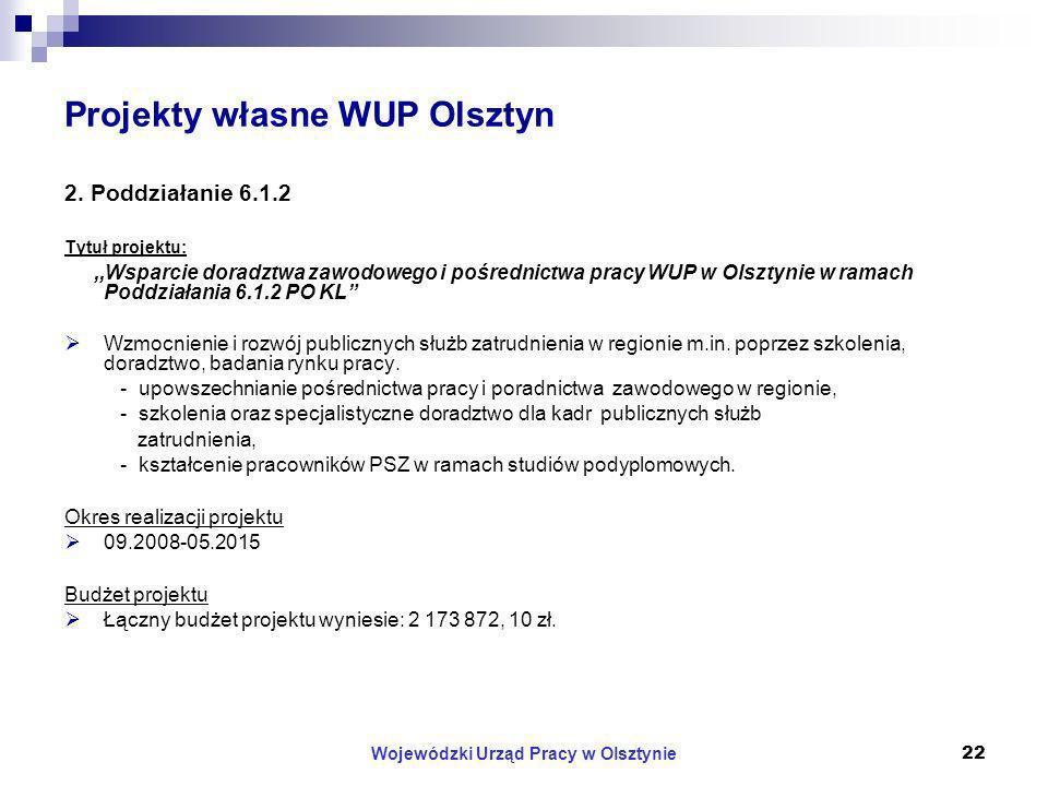 Wojewódzki Urząd Pracy w Olsztynie22 Projekty własne WUP Olsztyn 2.