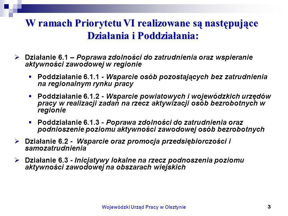 Wojewódzki Urząd Pracy w Olsztynie14 Strategiczne kryteria wyboru projektów w Priorytecie VI PO KL – c.d.