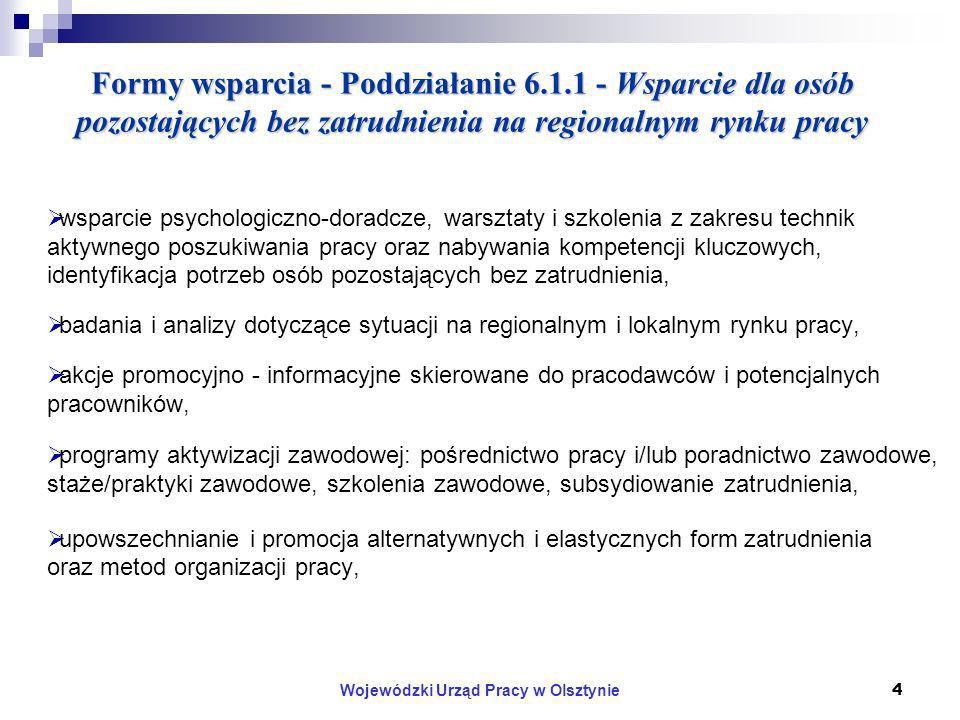 Wojewódzki Urząd Pracy w Olsztynie4 Formy wsparcia - Poddziałanie 6.1.1 - Wsparcie dla osób pozostających bez zatrudnienia na regionalnym rynku pracy wsparcie psychologiczno-doradcze, warsztaty i szkolenia z zakresu technik aktywnego poszukiwania pracy oraz nabywania kompetencji kluczowych, identyfikacja potrzeb osób pozostających bez zatrudnienia, badania i analizy dotyczące sytuacji na regionalnym i lokalnym rynku pracy, akcje promocyjno - informacyjne skierowane do pracodawców i potencjalnych pracowników, programy aktywizacji zawodowej: pośrednictwo pracy i/lub poradnictwo zawodowe, staże/praktyki zawodowe, szkolenia zawodowe, subsydiowanie zatrudnienia, upowszechnianie i promocja alternatywnych i elastycznych form zatrudnienia oraz metod organizacji pracy,