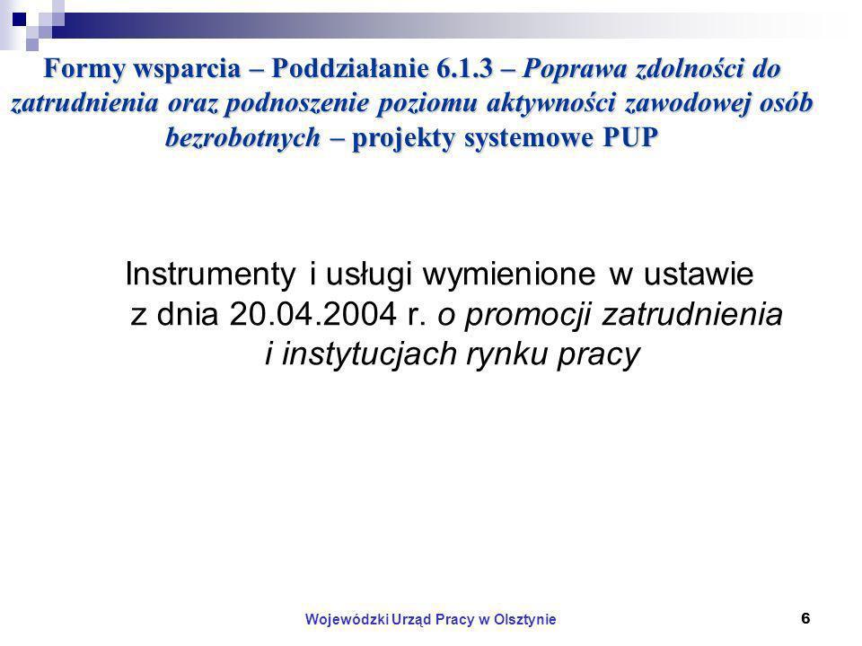 Wojewódzki Urząd Pracy w Olsztynie6 Formy wsparcia – Poddziałanie 6.1.3 – Poprawa zdolności do zatrudnienia oraz podnoszenie poziomu aktywności zawodowej osób bezrobotnych – projekty systemowe PUP Instrumenty i usługi wymienione w ustawie z dnia 20.04.2004 r.
