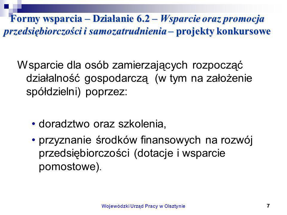 Wojewódzki Urząd Pracy w Olsztynie7 Formy wsparcia – Działanie 6.2 – Wsparcie oraz promocja przedsiębiorczości i samozatrudnienia – projekty konkursowe Wsparcie dla osób zamierzających rozpocząć działalność gospodarczą (w tym na założenie spółdzielni) poprzez: doradztwo oraz szkolenia, przyznanie środków finansowych na rozwój przedsiębiorczości (dotacje i wsparcie pomostowe).