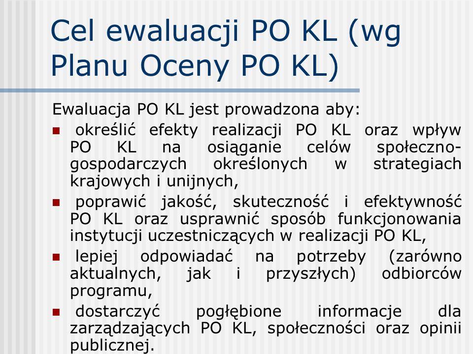 Cel ewaluacji PO KL (wg Planu Oceny PO KL) Ewaluacja PO KL jest prowadzona aby: określić efekty realizacji PO KL oraz wpływ PO KL na osiąganie celów s