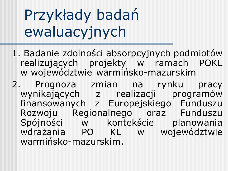Przykłady badań ewaluacyjnych 1. Badanie zdolności absorpcyjnych podmiotów realizujących projekty w ramach POKL w województwie warmińsko-mazurskim 2.