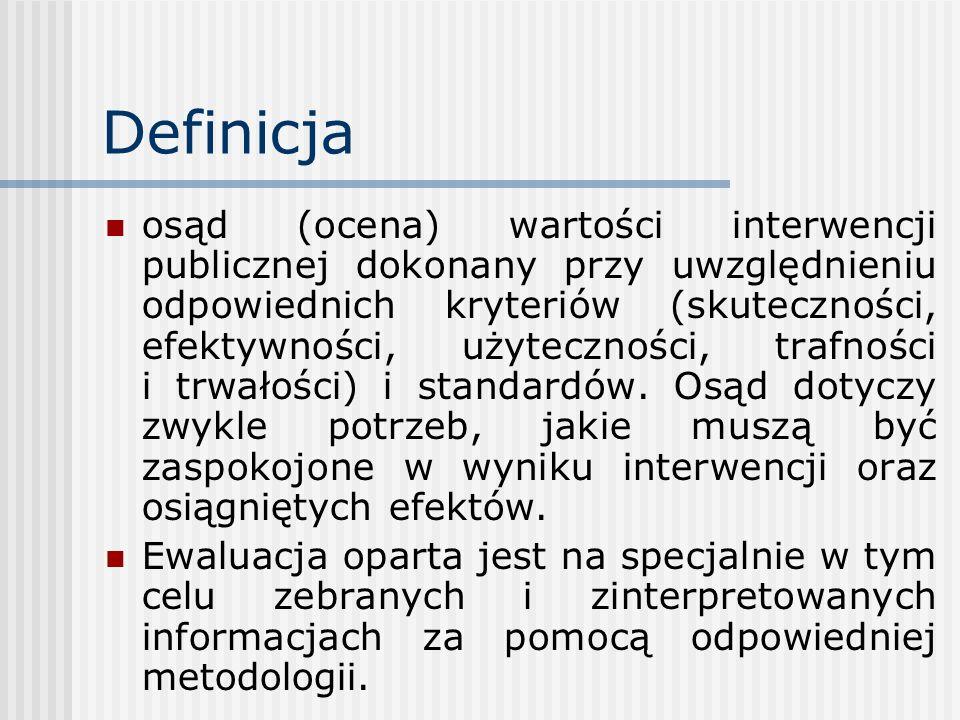 Definicja osąd (ocena) wartości interwencji publicznej dokonany przy uwzględnieniu odpowiednich kryteriów (skuteczności, efektywności, użyteczności, t