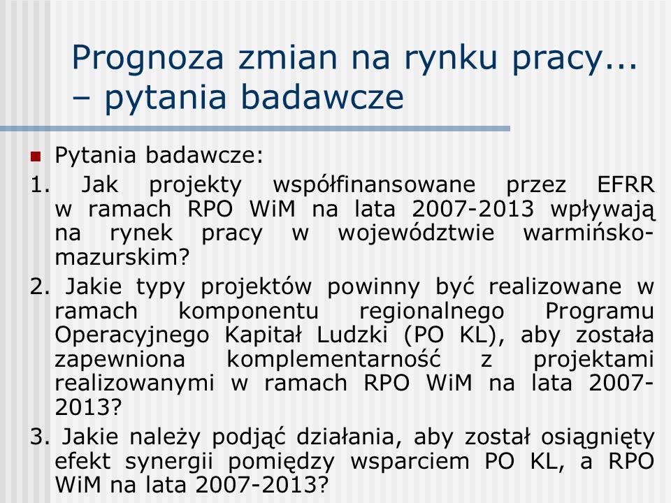 Prognoza zmian na rynku pracy... – pytania badawcze Pytania badawcze: 1. Jak projekty współfinansowane przez EFRR w ramach RPO WiM na lata 2007-2013 w