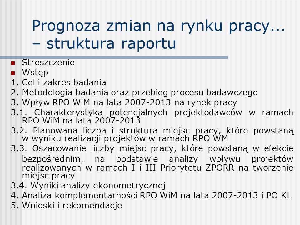 Prognoza zmian na rynku pracy... – struktura raportu Streszczenie Wstęp 1. Cel i zakres badania 2. Metodologia badania oraz przebieg procesu badawczeg