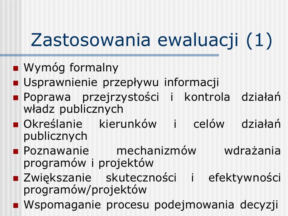 Zastosowania ewaluacji (1) Wymóg formalny Usprawnienie przepływu informacji Poprawa przejrzystości i kontrola działań władz publicznych Określanie kie