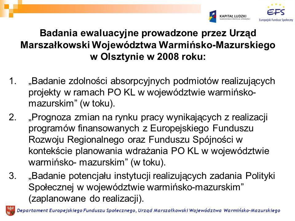 1.Badanie zdolności absorpcyjnych podmiotów realizujących projekty w ramach PO KL w województwie warmińsko- mazurskim (w toku).