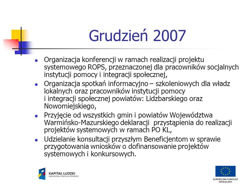Grudzień 2007 Organizacja konferencji w ramach realizacji projektu systemowego ROPS, przeznaczonej dla pracowników socjalnych instytucji pomocy i integracji społecznej, Organizacja spotkań informacyjno – szkoleniowych dla władz lokalnych oraz pracowników instytucji pomocy i integracji społecznej powiatów: Lidzbarskiego oraz Nowomiejskiego, Przyjęcie od wszystkich gmin i powiatów Województwa Warmińsko-Mazurskiego deklaracji przystąpienia do realizacji projektów systemowych w ramach PO KL, Udzielanie konsultacji przyszłym Beneficjentom w sprawie przygotowania wniosków o dofinansowanie projektów systemowych i konkursowych.