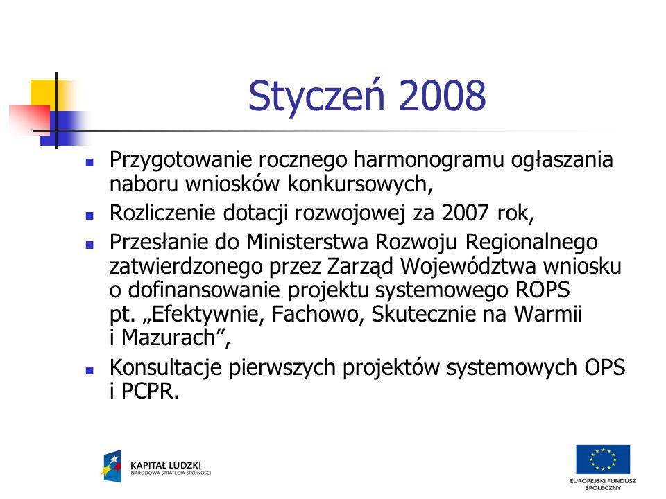 Luty 2008 Współpraca z 2 ROEFS w sprawie zorganizowania cyklu spotkań szkoleniowo-instruktażowych dla ośrodków pomocy społecznej i powiatowych centrów pomocy rodzinie.