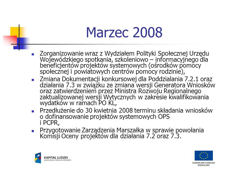Marzec 2008 cd.Zakończenie I naboru wniosków konkursowych w Poddziałaniu 7.2.1 oraz Działaniu 7.3.