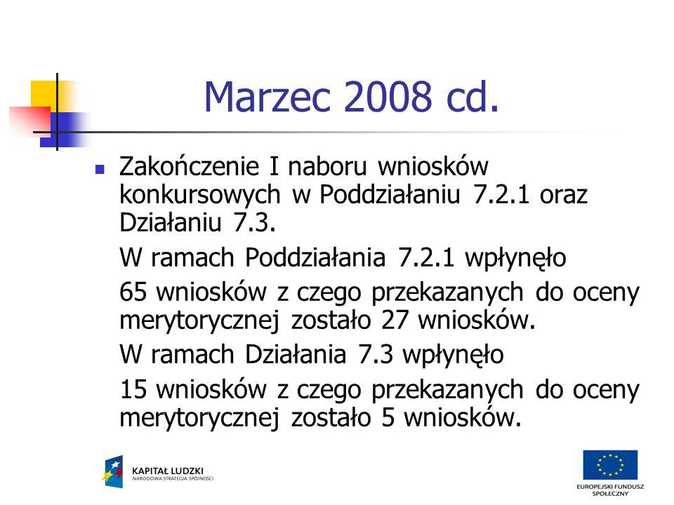 Marzec 2008 cd. Zakończenie I naboru wniosków konkursowych w Poddziałaniu 7.2.1 oraz Działaniu 7.3.