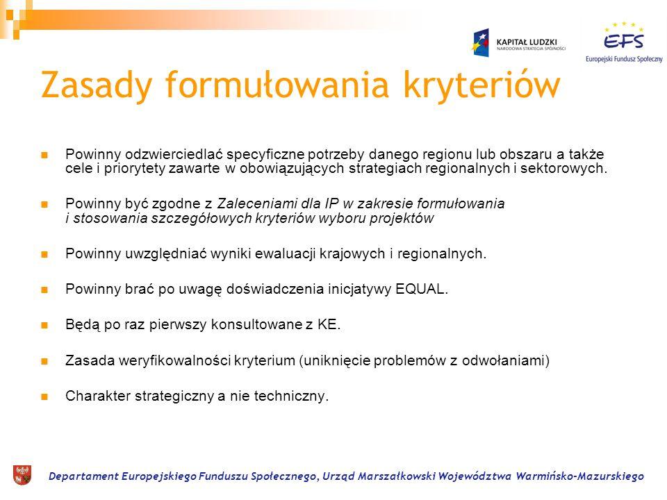 Departament Europejskiego Funduszu Społecznego, Urząd Marszałkowski Województwa Warmińsko-Mazurskiego Zasady formułowania kryteriów Powinny odzwiercie
