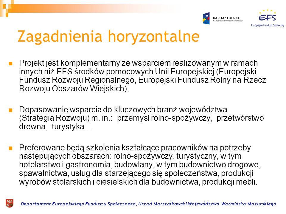 Departament Europejskiego Funduszu Społecznego, Urząd Marszałkowski Województwa Warmińsko-Mazurskiego Zagadnienia horyzontalne Projekt jest komplement