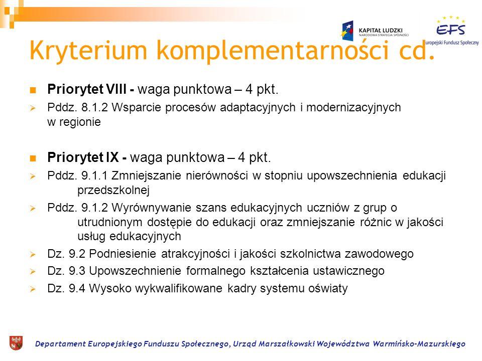 Departament Europejskiego Funduszu Społecznego, Urząd Marszałkowski Województwa Warmińsko-Mazurskiego Kryterium komplementarności cd. Priorytet VIII -