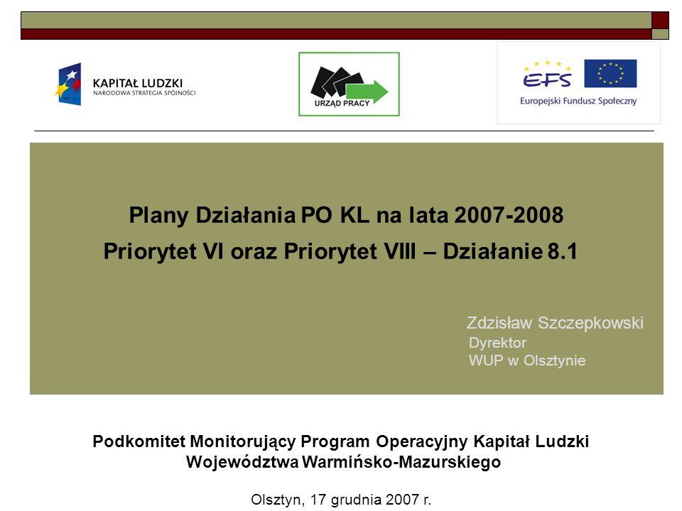 Plany Działania PO KL na lata 2007-2008 Priorytet VI oraz Priorytet VIII – Działanie 8.1 Podkomitet Monitorujący Program Operacyjny Kapitał Ludzki Województwa Warmińsko-Mazurskiego Olsztyn, 17 grudnia 2007 r.