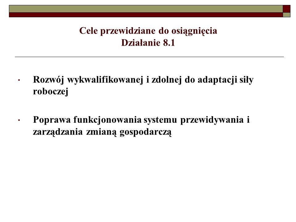 Cele przewidziane do osiągnięcia Działanie 8.1 Rozwój wykwalifikowanej i zdolnej do adaptacji siły roboczej Poprawa funkcjonowania systemu przewidywania i zarządzania zmianą gospodarczą