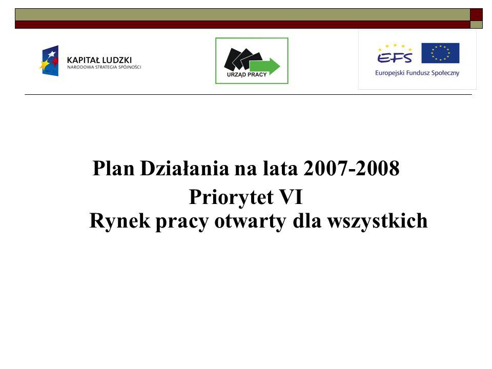 Plan Działania na lata 2007-2008 Priorytet VI Rynek pracy otwarty dla wszystkich