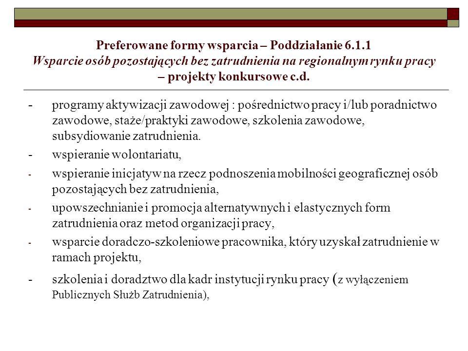Kryteria wyboru projektów - pilotaż Poddziałanie 8.1.1 Kryteria dostępu I.