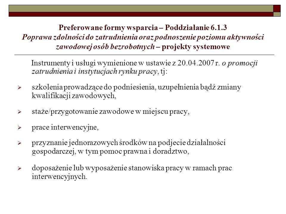 Kryteria wyboru projektów – konkurs w 2008 roku Działanie 8.1 (c.d.) Kryteria dostępu c.d.