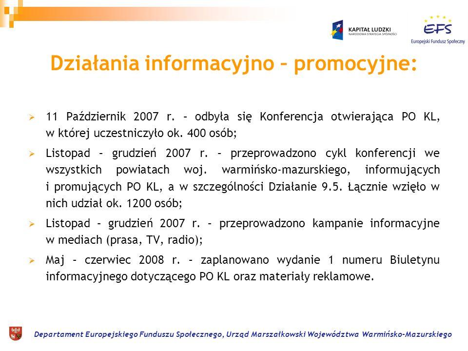 Departament Europejskiego Funduszu Społecznego, Urząd Marszałkowski Województwa Warmińsko-Mazurskiego Działania informacyjno – promocyjne: 11 Październik 2007 r.